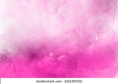 Pink watercolor ombre leaks and splashes texture on white watercolor paper background. Natural organic shapes and design.