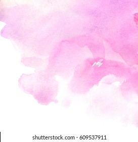 Pink watercolor paper texture isolated hand drawn splash background for card, wallpaper, tag. Abstract brush paint purple bright color grunge illustration element for text design, template, print