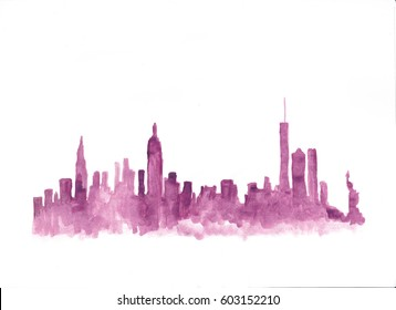 Pink watercolor skyline of new york city in USA
