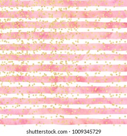 Pink watercolor stripes sprinkled with gold confetti