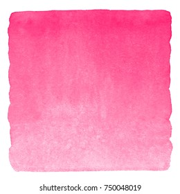 Pink watercolor Valentines day gradient background with stains. Square shape with uneven edges isolated on white. Rose watercolour texture. Bright hand drawn abstract aquarelle fill.