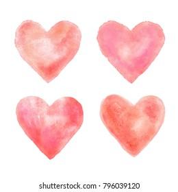 Pink watercolour hearts