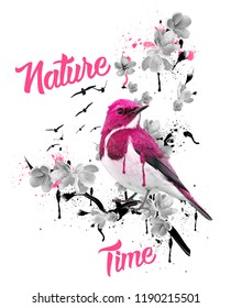 Pink and white bird with around flowers, shapes and texts. JPEG format.