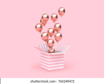 pink white box open rose gold metallic balloon floating minimal pink background