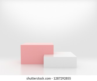 Pink and White Box, Product Stage. 3D Rendering