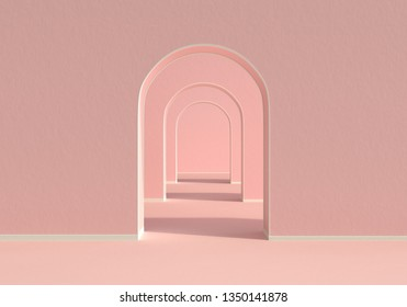 Pink and white colors 3D wall background with arch panels, 3D Rendering.