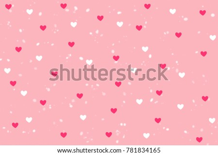 Pink And White Heart Shape With Snowfall Background On Sweet Wallpaper Copy Space