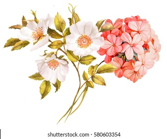 Pink white jasmine, hydrangea, rose flowers wedding watercolor bouquet