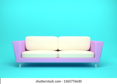 Pink and White Leather sofa design in light blue background, 3D rendering illustration