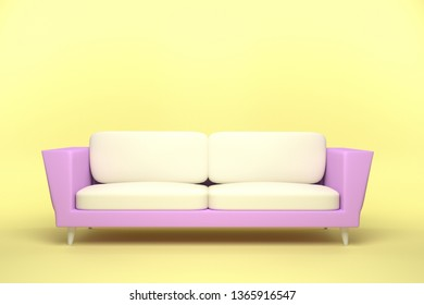 Pink and White Leather sofa design in yellow background, 3D rendering illustration