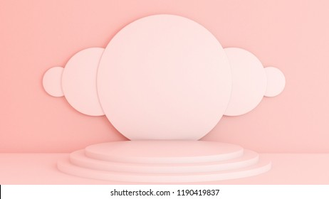 Pink white light background, studio and pedestal. 3d illustration, 3d rendering.