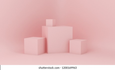 Pink white light background, studio and pedestal. 3d illustration, 3d rendering.