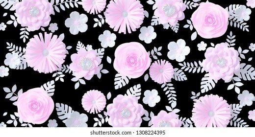 Pink and white Paper flowers background isolated on black mask, floral papercraft wallpaper, wedding or Valentines day greeting card. 3d rendering