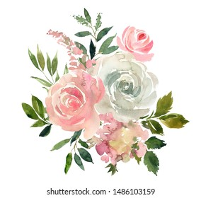 Pink White Pastel Colors Watercolor Floral Arrangement Isolated on White Background