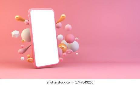 Rosa weißes Telefon, umgeben von geometrischen Formen 3D-Darstellung