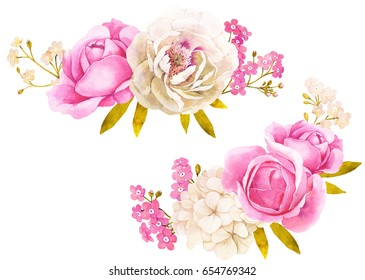 Pink white watercolor flower bouquet for wedding decoration