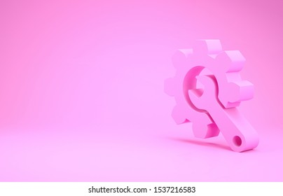 Pink Wrench and gear icon isolated on pink background. Adjusting, service, setting, maintenance, repair, fixing. Minimalism concept. 3d illustration 3D render