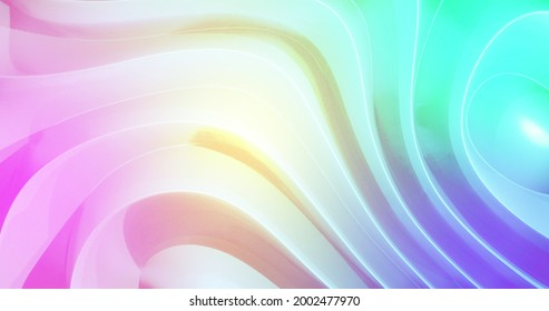 Pink yellow and blue light and shadow playing on moving 3d grooved absract white shape. colour, light and movement concept, digitally generated image.