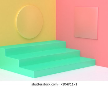 pink yellow green step floor colorful abstract minimal background 3d render