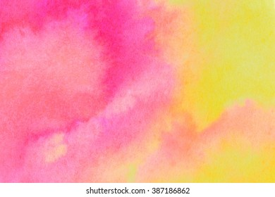 Pink and yellow ink wash background. Close up of original artwork.