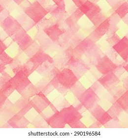 Pink, yellow lines and squares painted watercolor pattern. Seamless background