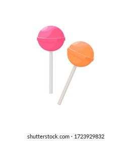 Pink and yellow lollipop illustration. Caramel, popsicle, sweet. Food concept. illustration can be used for topics like confectionery, sweet shop, supermarket