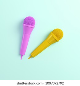 Pink and yellow microphones on bright background in pastel colors. Top view. 3d rendering