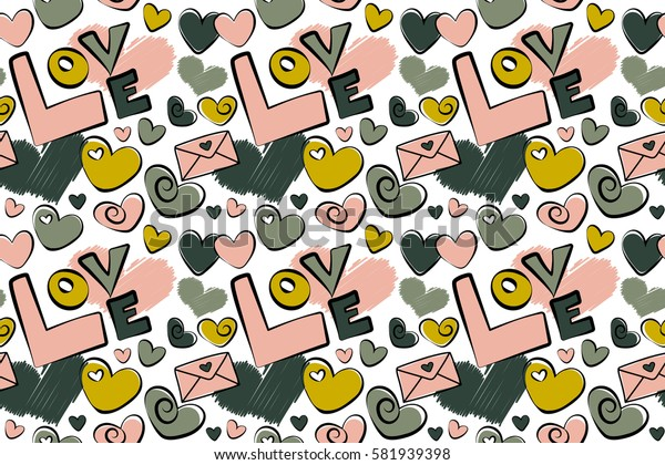 Pink and yellow pattern on white background. Raster hearts, love letter and love text. Valentines day background.