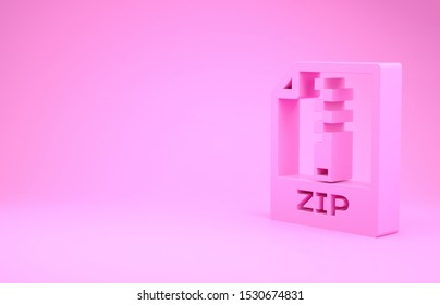 Pink ZIP file document. Download zip button icon isolated on pink background. ZIP file symbol. Minimalism concept. 3d illustration 3D render