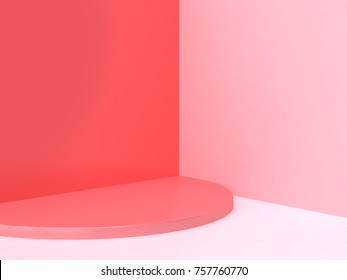 pink-red wall corner scene abstract minimal background with semicircle shape 3d rendering