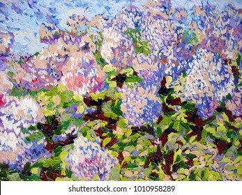 pinky garden acrylic oil painting