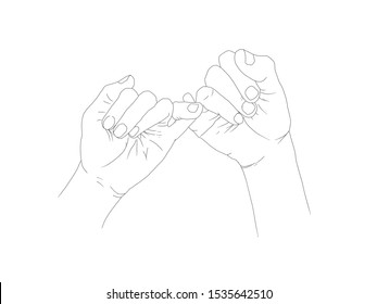 Pinky swear, or pinky promise thin Drawing line icon on white background.