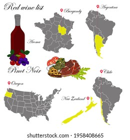 Pinot noir. The wine list. An illustration of a red wine with an example of aromas, a vineyard map and food that matches the wine. Background for menu and wine tasting.