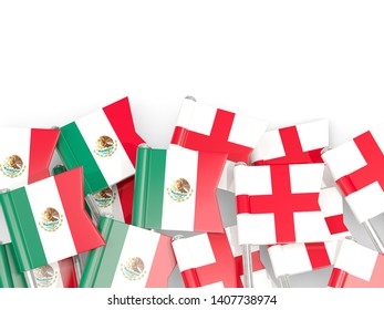 Pins with flags of Mexico and england isolated on white. Communication/dialog concept. 3D illustration