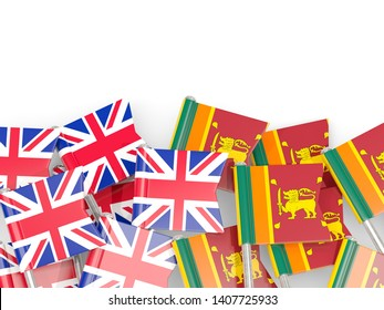 Pins with flags of United Kingdom (UK) and sri lanka isolated on white. Communication/dialog concept. 3D illustration