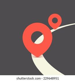 Pins on GPS navigator