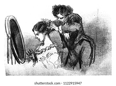 The Pins, vintage engraved illustration. From The Tortures of Fashion.