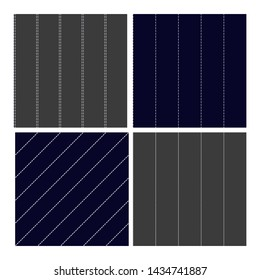 Pinstripe Collection Seamless Pattern Set . Classic Different Grey, Navy Blue and White Dashed Sewing Pinstripe Fabric Textile Material For Clothing. Texture Flat Illustration