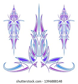 Pinstriping blue and purple neon suitable for decoration of motorcycles, cars, decal, printing, tattoo and others