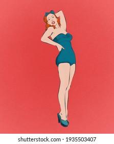pinup portrait of ginger girl
