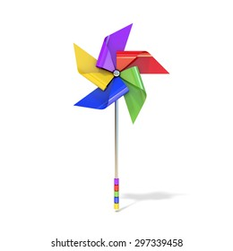 Pinwheel toy, five sided, differently colored vanes. 3D render illustration isolated on white background