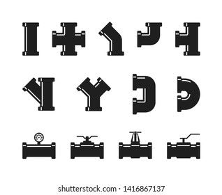 Pipe fittings, water tubes icons. Plumbing, construction pipeline, industrial drainage system set isolated. Illustration of tube and pipe industry, piping system drainage