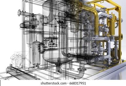 Pipe, heating, compressors, bim, convectors