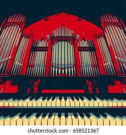 Pipe organ with keyboards in the foreground