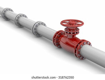 Pipeline 3d on white background
