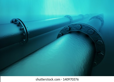 Pipeline beneath the ocean.  Pipeline transportation is most common way of transporting goods such as oil, natural gas or water on long distances.