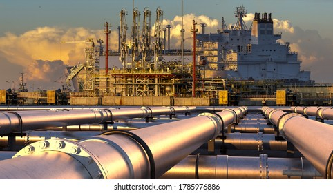 Pipelines leading the LNG terminal and the LNG tanker.3D illustration.