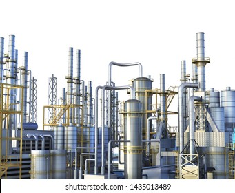 Pipelines of a oil and gas refinery industrial plant. 3d illustration
