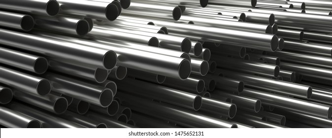 Pipes tubes steel metal background. Round shale stacked, banner. Products for utilities services, construction industry. 3d illustration