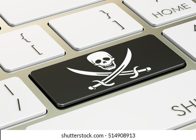 piracy concept, on the computer keyboard. 3D rendering